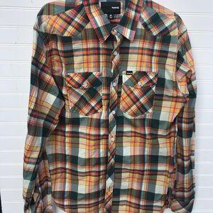 Hurley Plaid Western Plaid Button Down Shirt